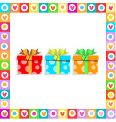 cute festive bright wrapped present boxes inside vector image