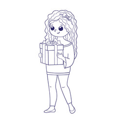 cute girl for coloring bookgirl holding a box vector image