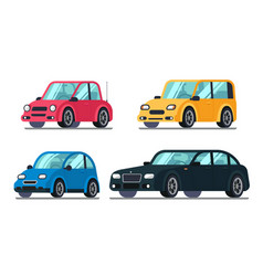 Different flat cars cheap motor car on wheels vector