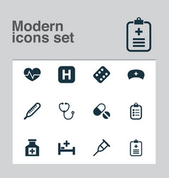 drug icons set with bed pellets medicament and vector image