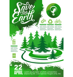 earth day banner with green tree and eco icon vector image