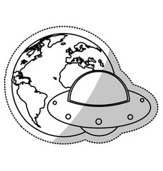 earth world ufo image outline vector image