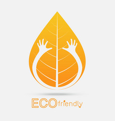eco friendly isolate hand hug leaf concept vector image