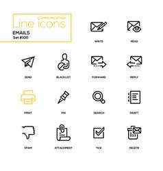 emails - modern line design icons set vector image