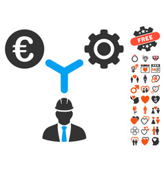 euro development relations icon with valentine vector image