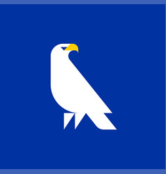 fat style logo template of white eagle on a blue vector image