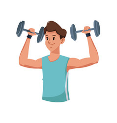 fitness man weight lifting workout vector image