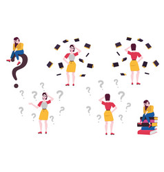 Flat doubtful women with questions set vector