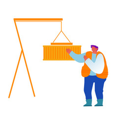 foreman in port control loading containers box vector image
