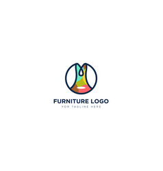 Furniture logo design with chair abstract africa vector