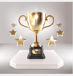 golden champion cup with stars realistic vector image