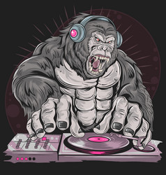 gorilla dj music party vector image
