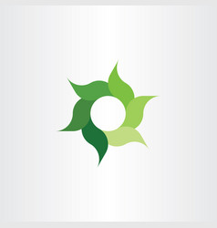 green eco leaves circle logo symbol element sign vector image