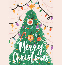 Greeting xmas card with merry christmas vector