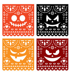 Halloween papel picado design with pumpkin faces vector