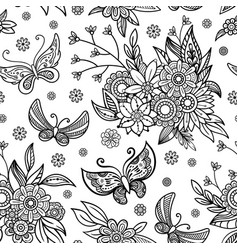 Hand drawn flowers and butterfly background vector