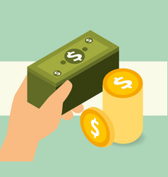 hand holding banklnote and pile coins money vector image