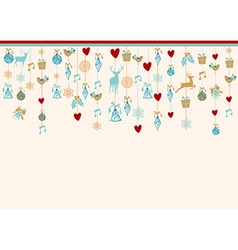 Hangigng ornaments xmas card background elements vector image