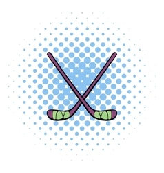 Hockey sticks icon comics style vector image