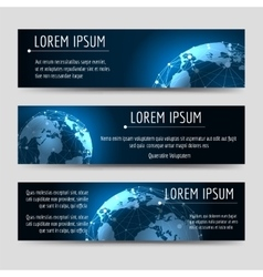 Horizontal banners template with earth sphere vector