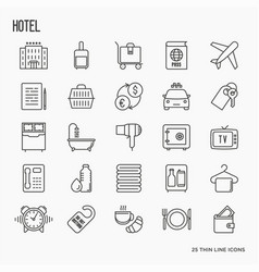 Hotel services thin line icons vector