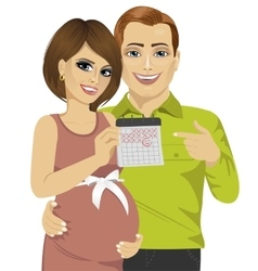 Husband and his pregnant wife pointing to calendar vector