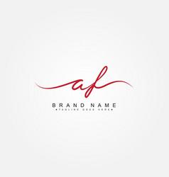 Initial letter af logo - hand drawn signature logo vector