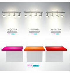 Interior for advertise products with lighting vector