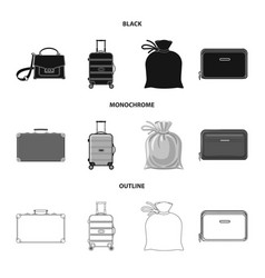 Isolated object of suitcase and baggage logo set vector