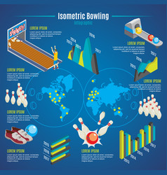 Isometric bowling infographic template vector