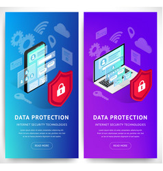 isometric data security phone vertical banners set vector image
