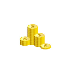 isometric gold stack of dollar coins isolated on vector image