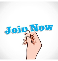Join Now word in hand vector image