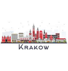 Krakow poland city skyline with color buildings vector