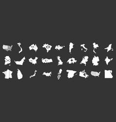 landmark icon set grey vector image