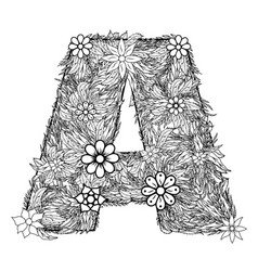 Letter a dudling drawing mandala vector