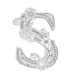 Letter S coloring book for adults vector image