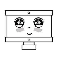 line kawaii cute happy computer technology vector image