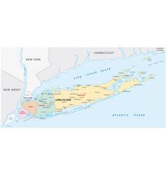 long island administrative map vector image