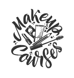 Makeup courses logo hand drawn vector