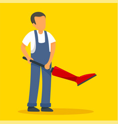 Man vacuum cleaner concept background flat style vector