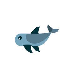 Marine life whale cartoon sea fauna animal vector