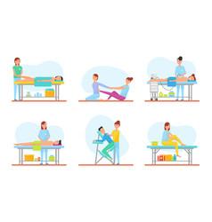 Massage methods masseuses icons set vector