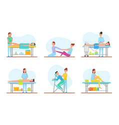 Massage methods of masseuses icons set vector