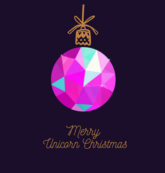 merry unicorn christmas card new year vector image