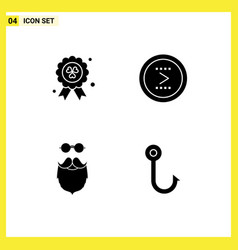 Mobile interface solid glyph set 4 pictograms vector