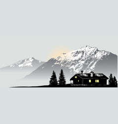 Mountain view with the lonely house vector