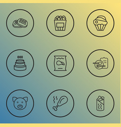 nutrition icons line style set with pig cupcake vector image