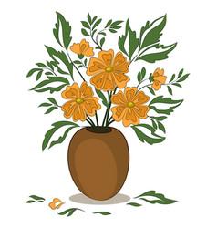 orange flowers in a vase vector image