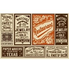 Pack old advertisement designs and labels vector